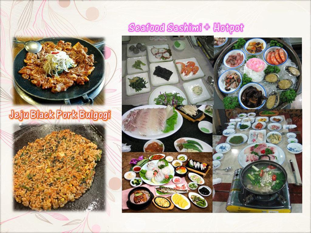 Lunch - Jeju Black Pork Bulgogi + Hallasan Fried Rice / Dinner - Seafood Sashimi Set (午餐 - 济州黑猪烤肉 + 汉挐山炒饭 / 晚餐 - 海鲜生鱼片套餐)