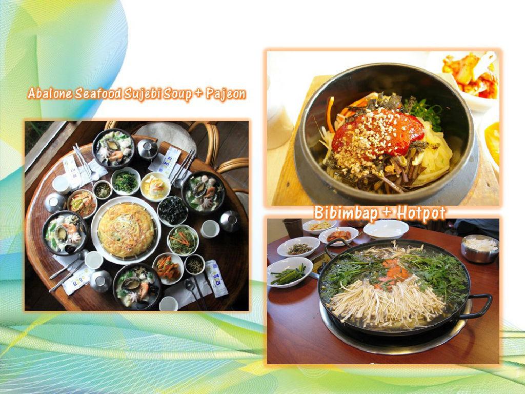 Lunch - Bibimbap + Hotpot / Dinner - Abalone Seafood with  Sujebi + Pajeon (午餐 - 韩国拌饭 + 小火锅 / 晚餐 - 韩国鲍鱼海鲜面粉淉汤 + 韩式葱饼)